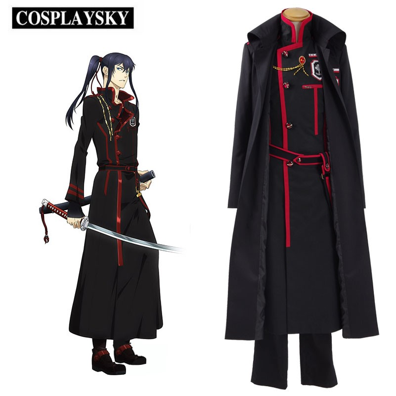 Yu Kanda Cosplay D.Gray-Man Hallow Costume New Exorcists Coat Uniform Halloween Trench Coat Pants Outfit Full Set 300241