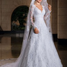 Fnoexw Long Sleeves Arab Vintage Lace Wedding Dresses 2017