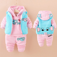 2018 winter baby clothes sets thick Keep warm fashion cotton Dinosaur boy girl Plus thick velvet 3PCS kid clothes suits clothing