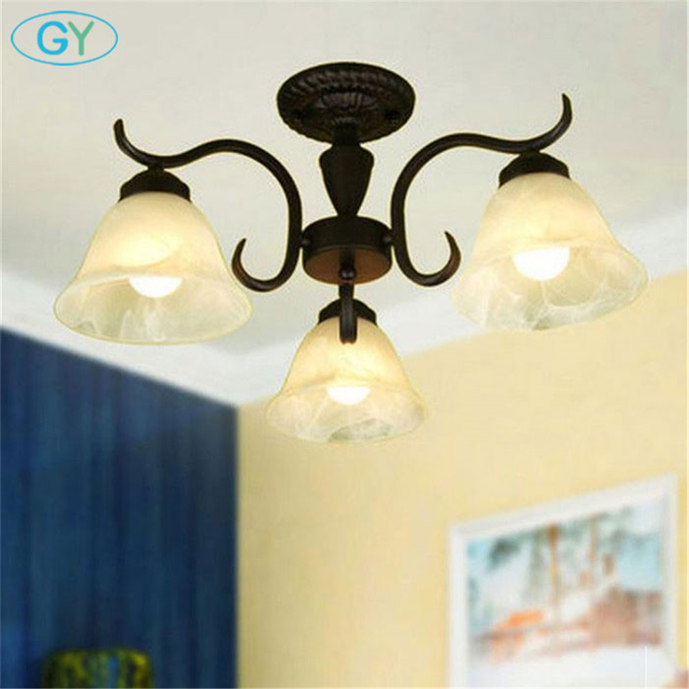 Classical Wrought Iron Ceiling lights Vintag 3pcs frosted milky glass down lampshade black Europe style living room bedroom lamp