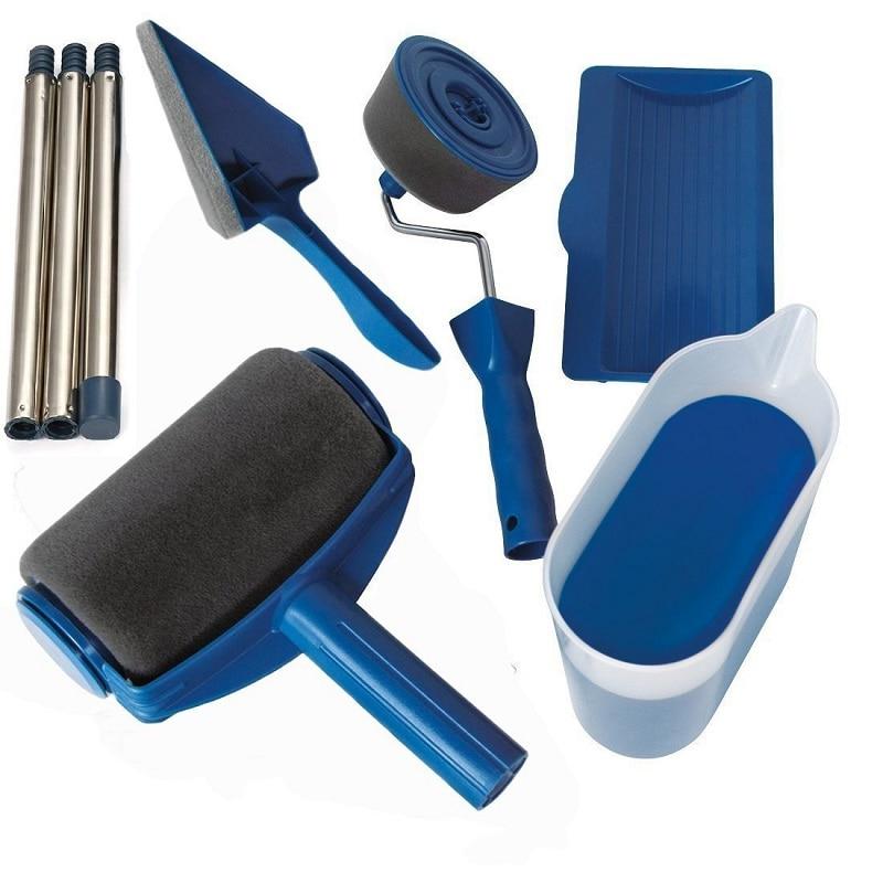 5/8pcs DIY Verf Roller Borstel Gereedschap Set Huishoudelijke Gebruik Muur Decoratieve Handvat Stroomden Edger Tool Schilderen Borstel Met Naad