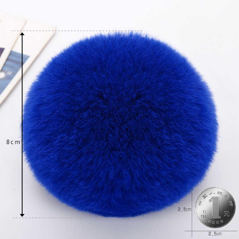 1 PC Hot New 1 PC Fluffy DIY 8 CM Faux Rabbit Fur Pom Bola Para Beanie Chapéu Chaveiro Acessórios