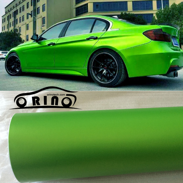 1 52x20m Roll Light Green Metallic Matt Vinyl Wrap Car