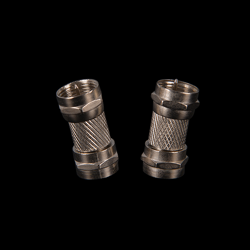 2Pcs Silver Zinc Alloy F Type Male Plug Connector Socket to RF Coax TV Aerial Female RF Adapters2Pcs Silver Zinc Alloy F Type Male Plug Connector Socket to RF Coax TV Aerial Female RF Adapters
