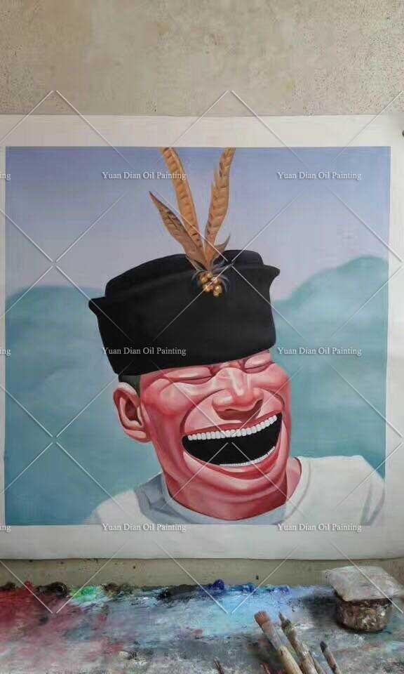 Chevalier art peinture yueminjun lauphing drôle joli portrait peint à la main peinture à l'huile canva art mural pour salon décor