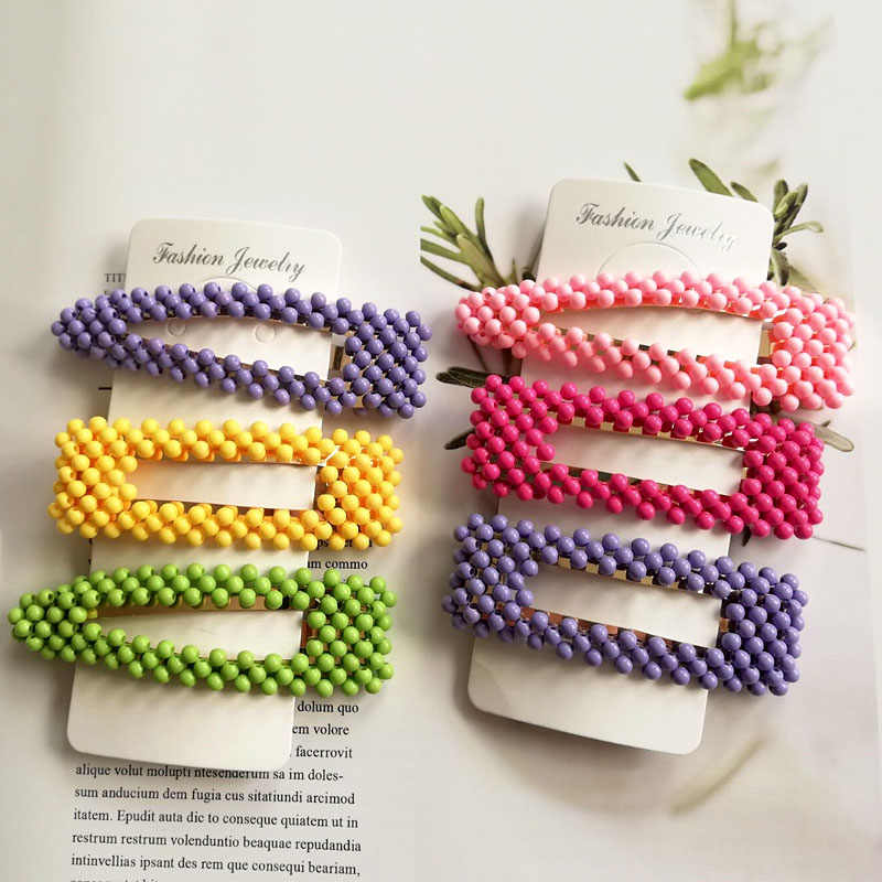 Korean Style New Arrival Fashion Colorful Beads Hairpin For Women Girls Headwear Hair Clip Barrettes Hair Accessories