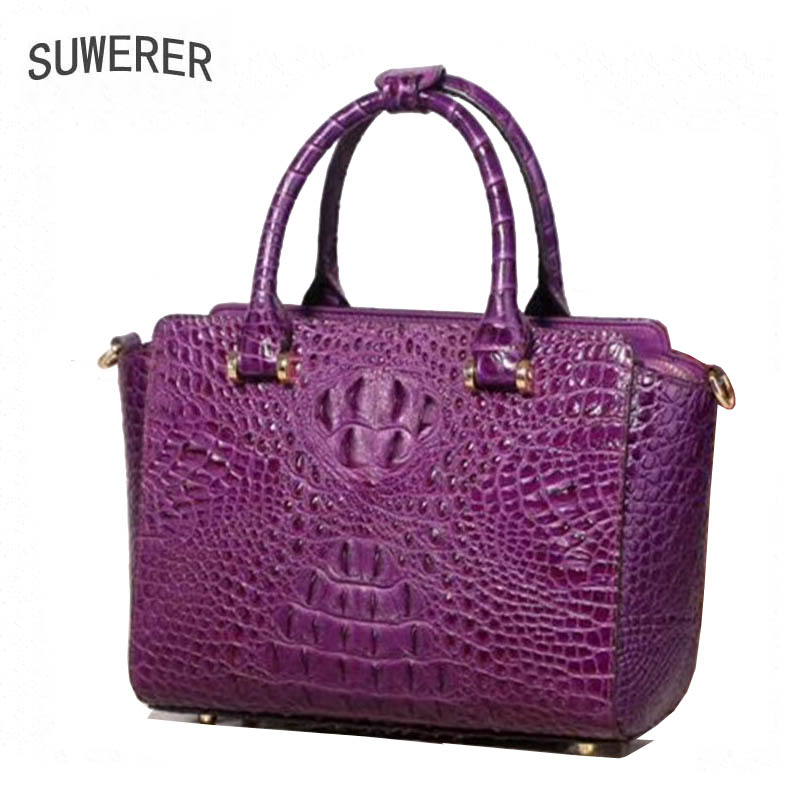 SUWERER 2019 New women bag Superior cowhide Genuine Leather handbags fashion Crocodile pattern tote women handbags shoulder bagSUWERER 2019 New women bag Superior cowhide Genuine Leather handbags fashion Crocodile pattern tote women handbags shoulder bag
