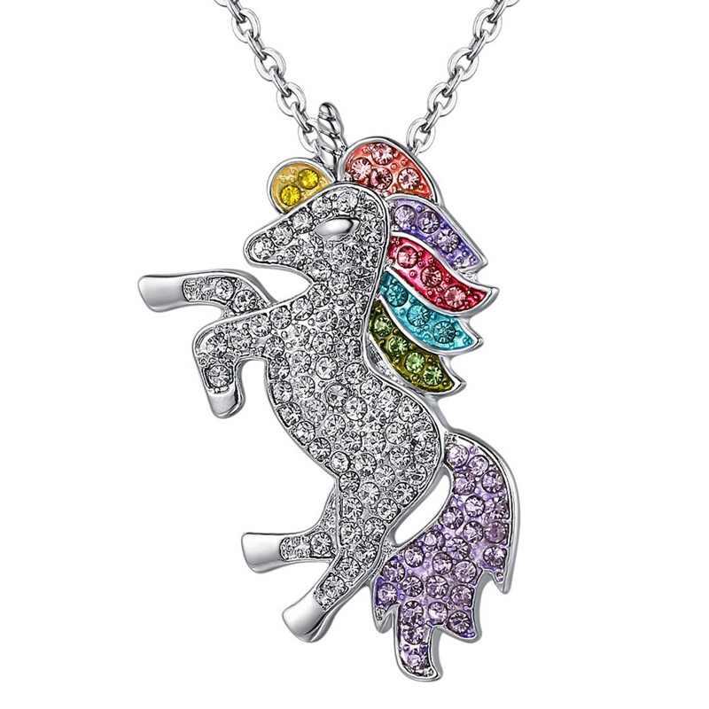 Kryształ wysokiej jakości jednorożec naszyjniki i bransoletka Trendy biżuteria dla kobiet prezenty dla dzieci dla dziewczynek tęczowa opaska jednorożec