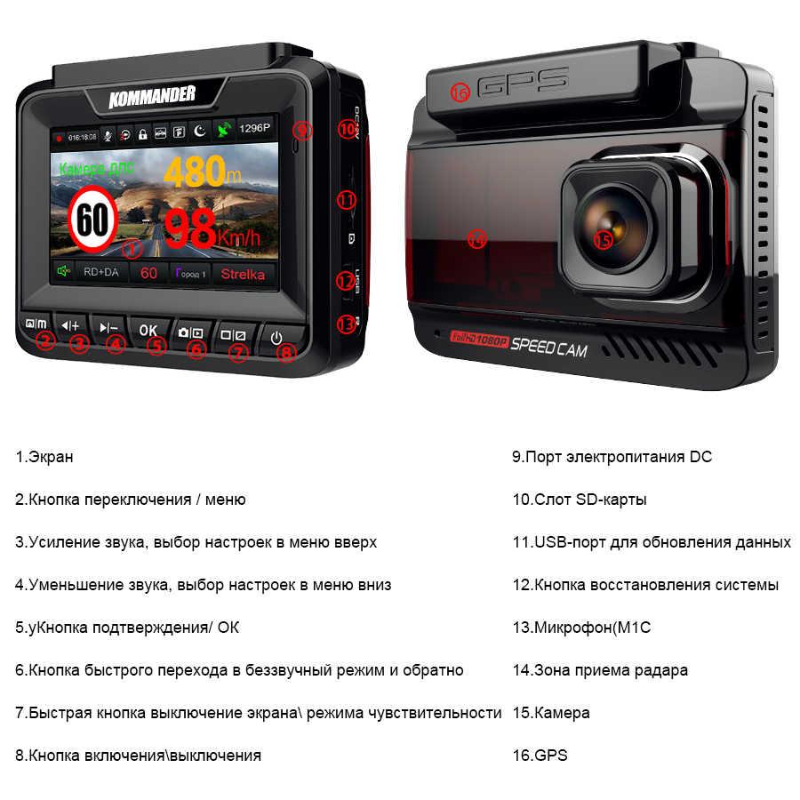 Kommander รถเครื่องตรวจจับเรดาร์ GPS ในตัวความเร็วเรดาร์ 3 in 1 Full HD 1080P 1296P 170 องศาเครื่องบันทึกวิดีโอ Dual Lens