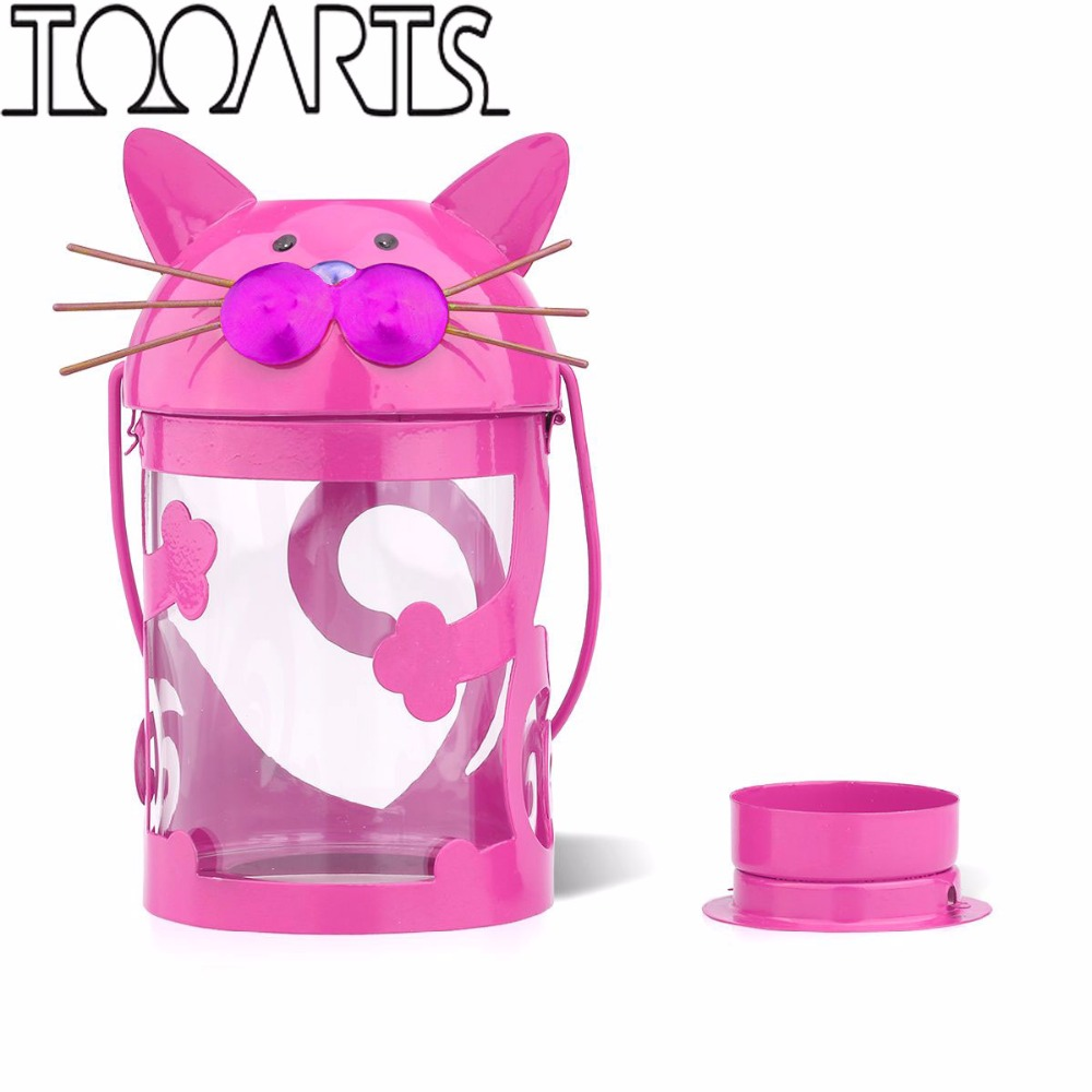 Tooarts cat owl beetle bee candle holder hurricane lamp for Article decoration