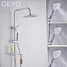 GEYO 3 modes ABS plastic Bathroom Shower Head Big panel Round Chrome Rain Water Saver Classic Design G1/2