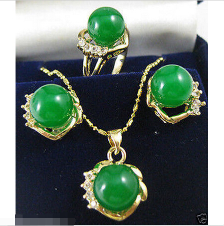 HOT SELL - 10mm green Natural stone ring pendant earring set ^^style Fine jewe Noble fast SHIPPING -Top quality fr