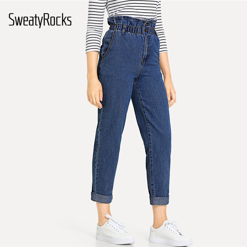SweatyRocks Blue Rolled Bottom Frill High Waist   Jeans   Women Casual Denim Preppy Pants 2018 New Basic Autumn Vintage   Jeans