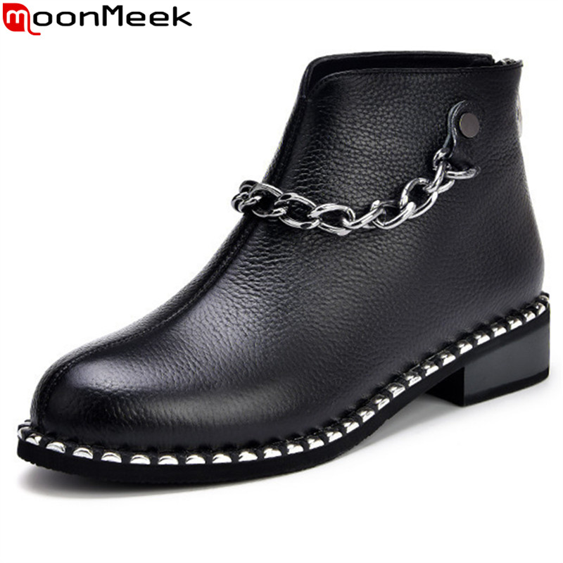 MoonMeek black new arrive women boots fashion chain low heels genuine leather ankle boots zipper bling comfortable lady boots drop shipping 2015 fashion arrive sexy full grain leather lady high heels motorcycle boots for women genuine leather ankle boots