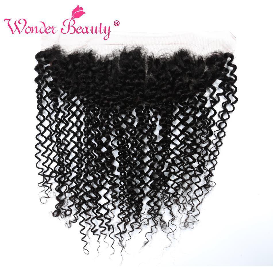 Pre Plucked Malaysian Afro Kinky Curly Hair 13x4 Ear To Ear Lace Frontal Wonder Beauty Hair Bundles 100% Human Hair Closure