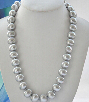 gray Ellipse For Women silver jewelry GRAY 12mm EGG SOUTH SEA SHELL PEARL NECKLACE 18inch Factory Wholesale price Women Gift word Jewelry