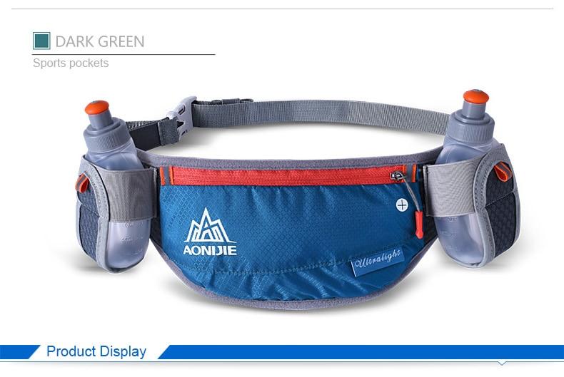 e58d623eef41 AONIJIE Running Waist Pack Marathon Bum Bag Cycling Waist Belt Unisex Key  Money Holder Bag with 2 Water Bottles #221872