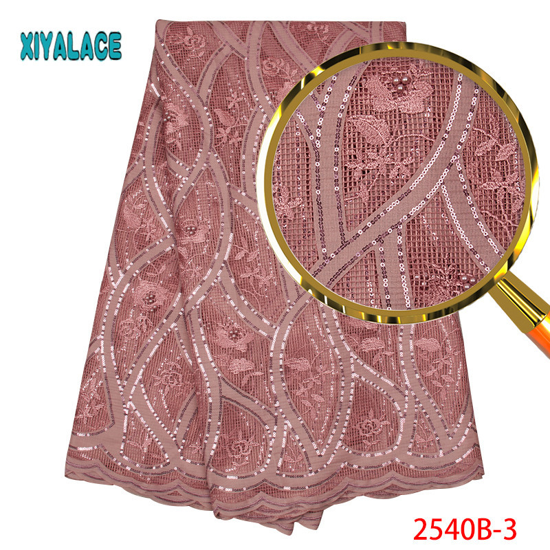 Latest African Lace Fabric 2019 Pink Bridal Lace Fabric High Quality Embroidery Tulle Lace Fabric For