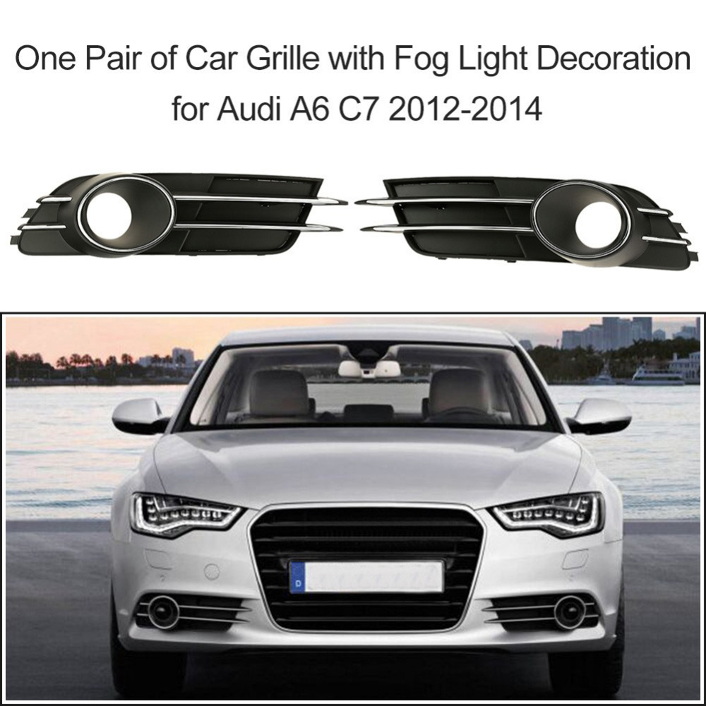 1 Pair Car Front Lower Bumper Grille Fog Light Grille Fog Lamp Protective Cover Decoration for