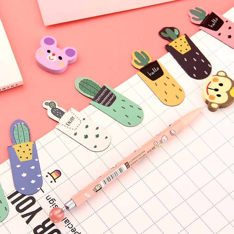 3 Pcs/pack Creative Cactus Magnetic Bookmarks Books Marker Of Page Student Stationery School Office Supply Gift Stationery
