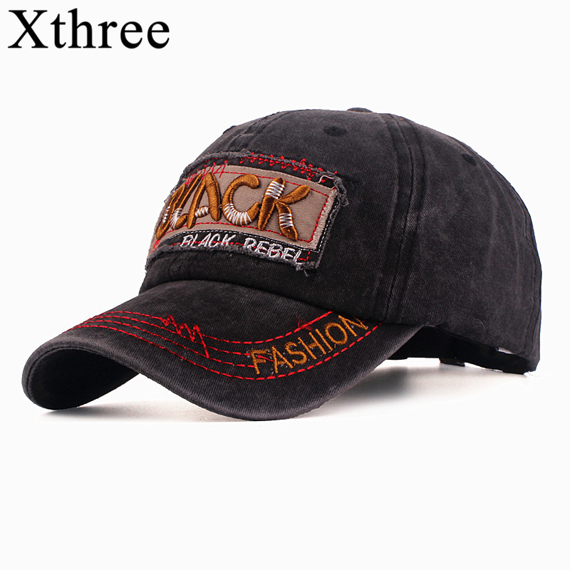 Xthree New Baseball Cap Washed Cotton Fitted Cap Letter Black Embroider Snapback Dad Hat For Men Bone Gorra Casual Casquette Cap