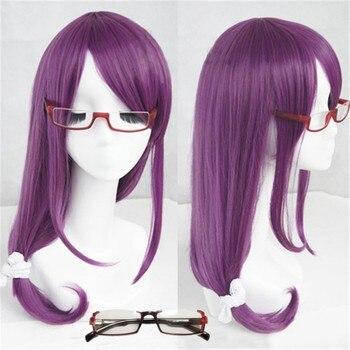 Длинные волнистые фиолетовые Жаростойкие синтетические волосы для косплея, парика + Кепка + очки