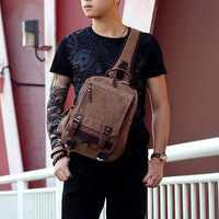 1Pcs High Quality Casual Man Unisex Retro Canvas Travel Chest Pack Shoulder Bag Crossbody s Messenger