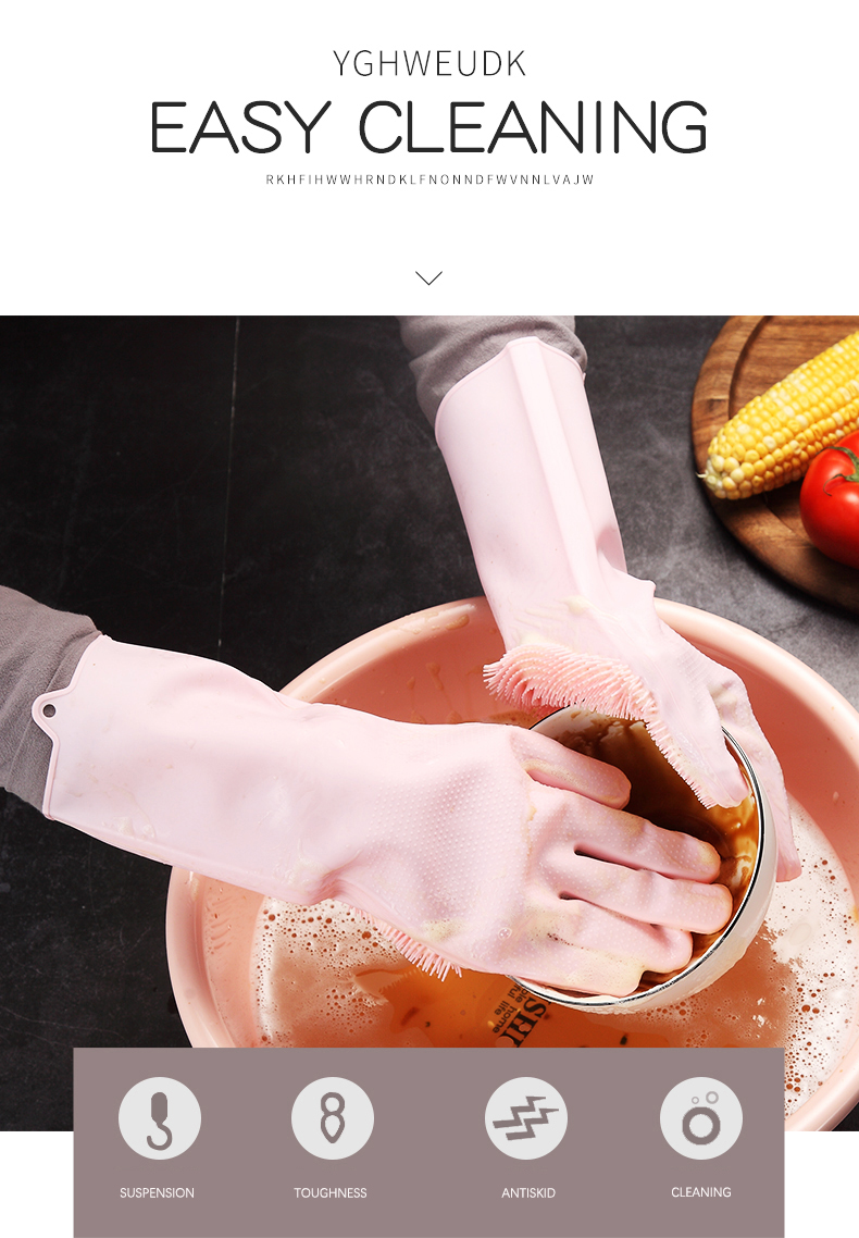 Multifunction Silicone Cleaning Gloves With Scrubber For Kitchen Household And Dish Washing 10
