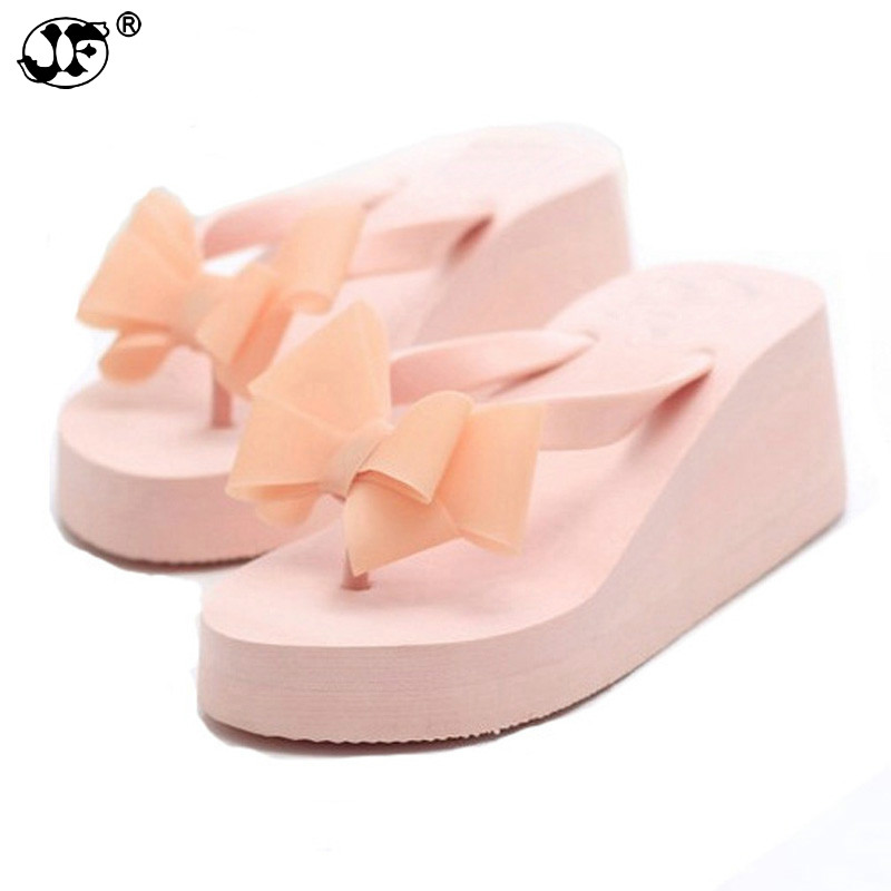 Free Shipping Women Sandals 2018 Flowers Wedges Summer Sandals sweet bowtie Women platform Beach Flip Flops Women Shoes 753 anmairon shallow leisure striped sandals women flats shoes new big size34 43 pu free shipping fashion hot sale platform sandals