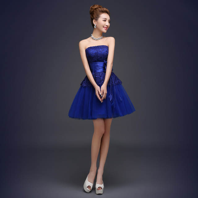 0a09043a47b Royal Blue Bridesmaid Dress Cute Mini Puffy Lace Dresses Mismatched Styles Vestido  De Festa De Casamento Party Dresses Modest-in Bridesmaid Dresses from ...