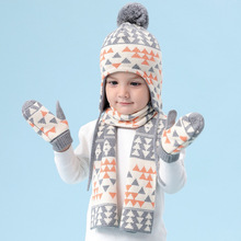 Шапка для маленьких мальчиков, детская бархатная клетчатая шапка, осенние и зимние шапки для детей, детские вязаные шерстяные наборы шарф шапка