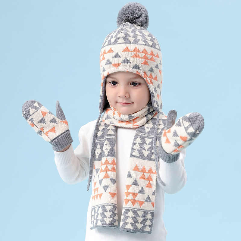 Baby boy hat children plus velvet plaid hat autumn and winter hats for kids baby knitted wool hat scarf  sets