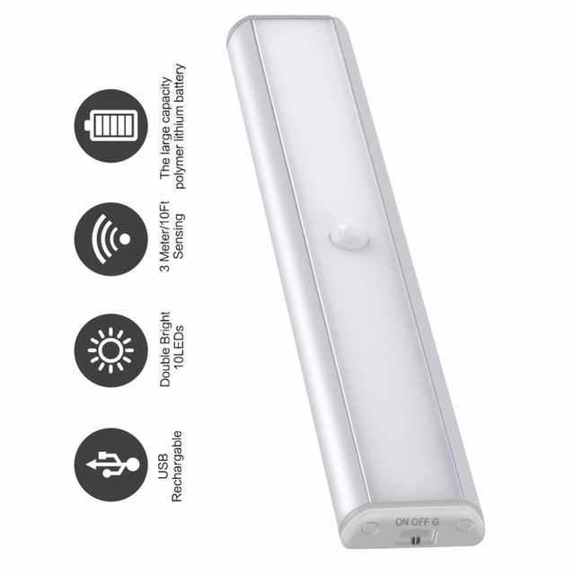 Newest Arrival PIR Motion Sensor Led Night Light for Under Cabinet Closet Wardrobe Lighting Portable Lamp by USB Rechargeable