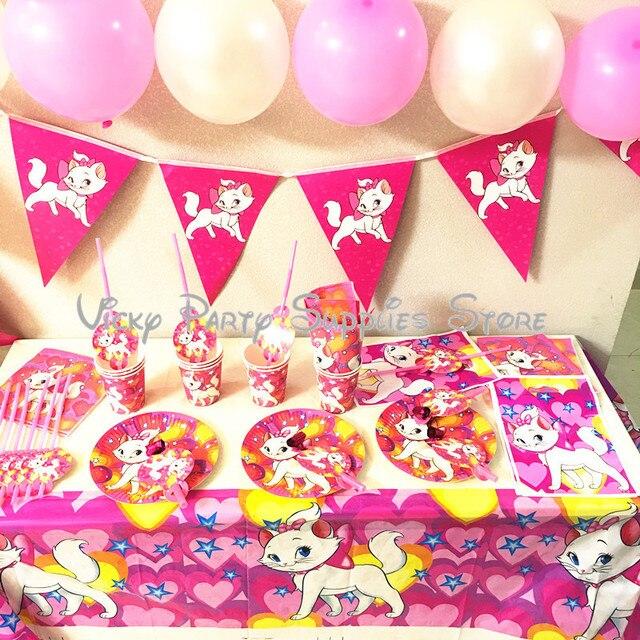 Vajilla desechable con dibujo de gato rosa de Los Aristogatos para Fiesta Temática, plato para Baby Shower, suministros de decoración