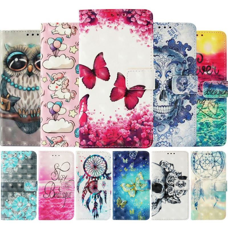 Luxury Case For Samsung Galaxy Note 9 8 S7 Edge j4 Core j6 Plus j3 j7 Duo j8 j2Pro 2018 A9S Painted Wallet Card Slot Cover P03E in Wallet Cases from Cellphones Telecommunications