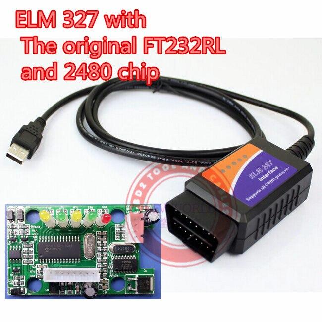 Prix pour Elm 327 usb avec La original FT232RL et PIC18F2480 puce la elmconfig logiciel elm327 usb obd scanner