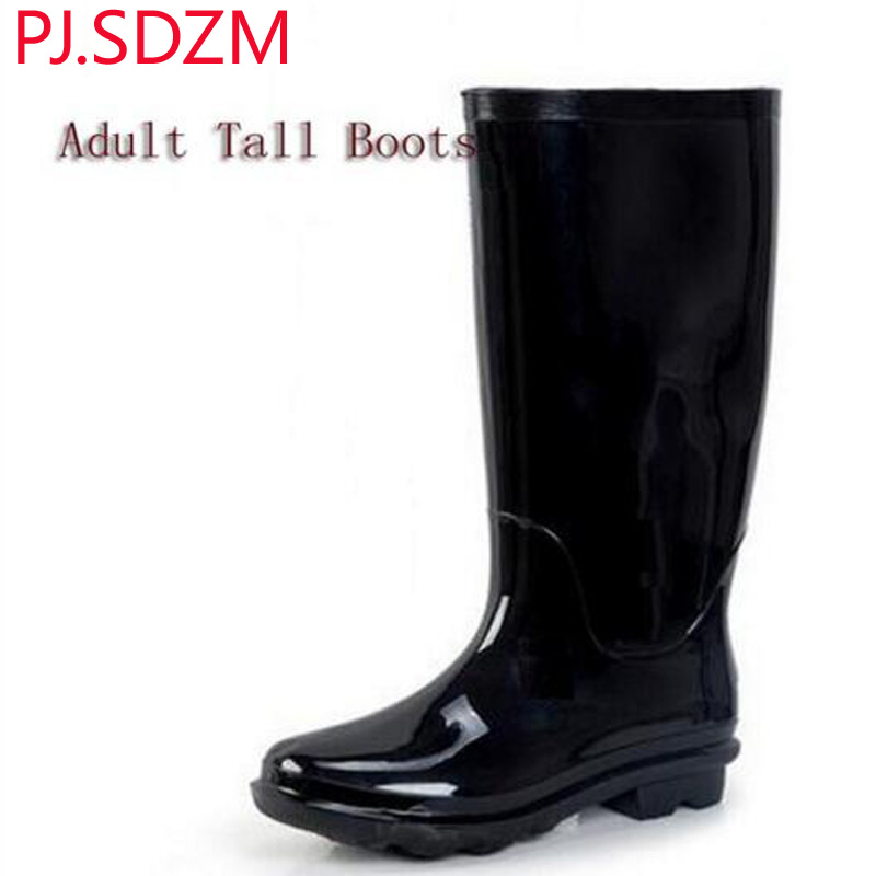PJ SDZM Adult Women Solid Color Jelly Shoes Tall Water Shoes Quality Rubber RainBoots Many Colors