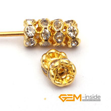 100 PCS To Sale 4mm 6mm 8mm 10mm Gold Crystal Spacer Rondelle Rhinestone Loose Beads For