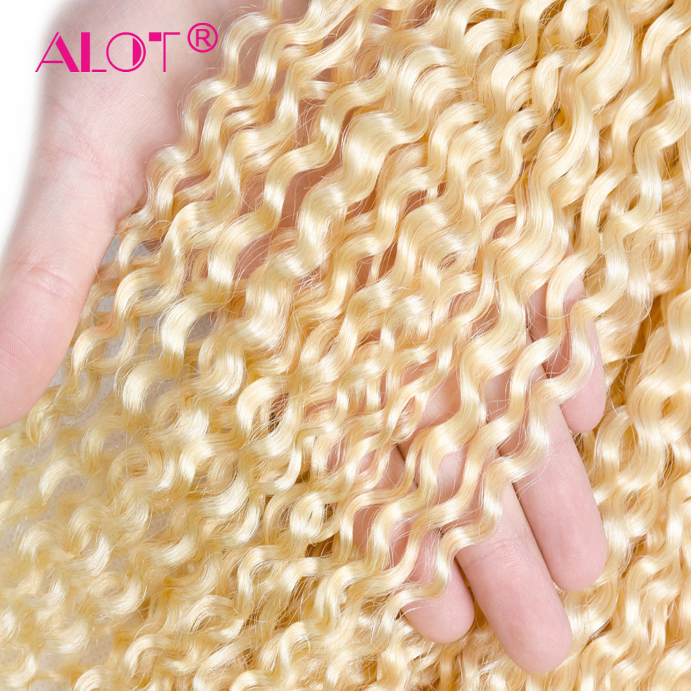Alot  613 Kinky Curly  3/4 Bundles Blonde Hair  12 To 24 Inch Double Weft Non  Hair s 4