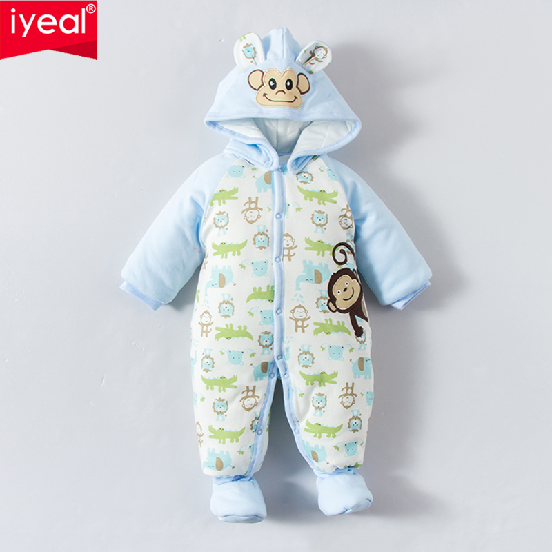IYEAL New Winter Baby Boy Romper 100% Cotton Animal Pattern Tollder Jumpusuit Warm Thick Newborn Clothes Infant Overalls