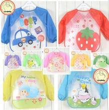 Hot New Children Baby Todders Waterproof Long Sleeve Art Smock Bibs Apron Cartoon 2016 Feeding baberos bavoir clothing