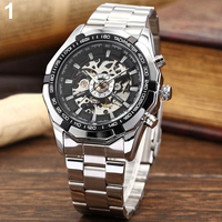 Fashion 2015 Mens Watches Stainless Mechanical Watch Steel Hand Winding Skeleton Automatic And Sport Wrist