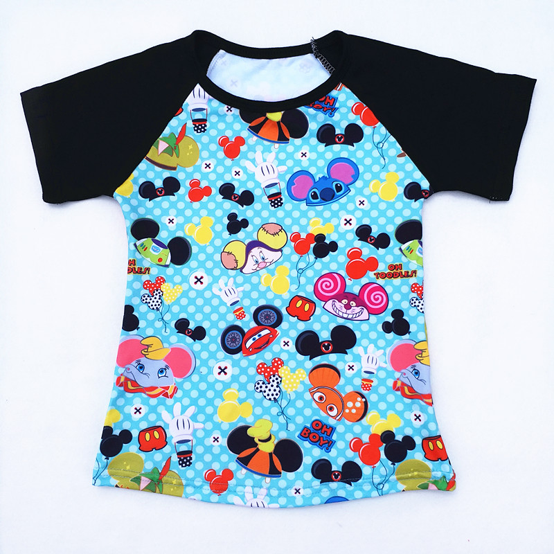 Hot Selling Summer Boy Mickey Head Printed Tshirt Children Milk Silk Raglan Tshirt Baby Boy Cartoon Boutique Clothing tile printed drawstring raglan sleeve hoodie