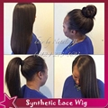 High ponytails yaki straight full lace wig anywhere part &lace front wig free part more baby hair soft swiss brown lace color
