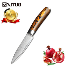 XITUO 3.5 Inch Paring Knife Japanese VG10 67 Layer Damascus Steel Kitchen knife Wood Handle Boning Utility Tools