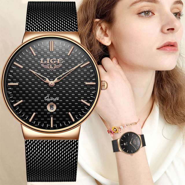 LIGE Fashion Luxury Brand Women Quartz Watch