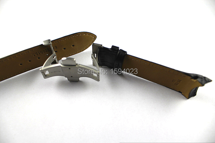 Купить с кэшбэком 24mm (Buckle 22mm) T035627 T035614A High Quality Silver Butterfly Buckle + Black Genuine Leather Watchband belts For T035617 man