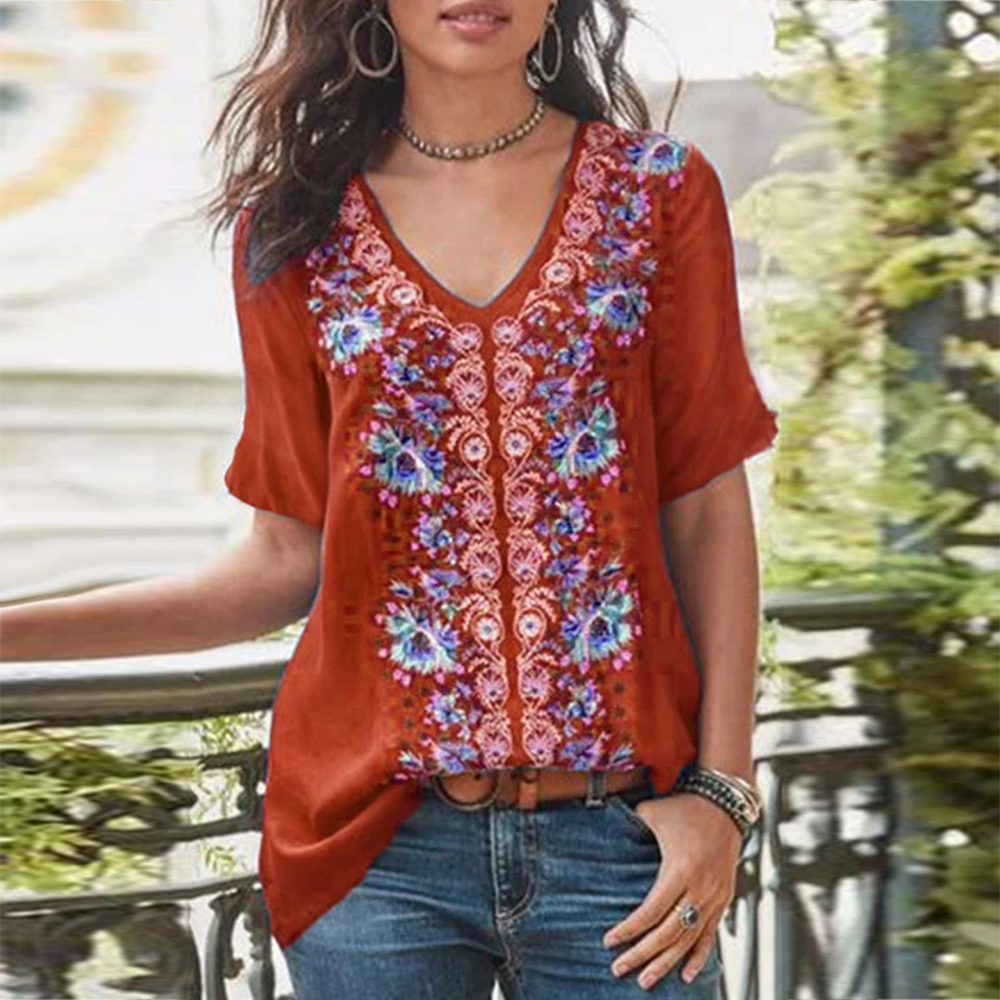 Retro Floral Print Womens Tops And   Blouses   Boho Plus Size Vintage Ladies Tunic Half Sleeve V Neck Elegant Women's   Blouses     Shirts