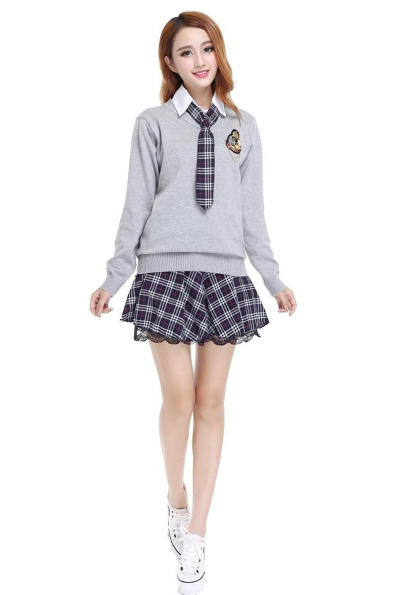 92272ddb79 Colegio marinero uniforme escolar uniforme Japón Corea de manga larga  camisa Plaid falda con traje suéter Niñas uniforme escolar en Uniformes  escolares de ...