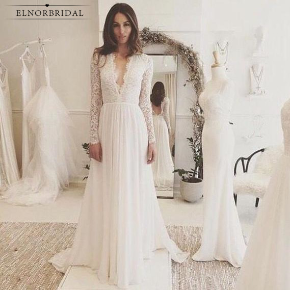 Long Sleeved Wedding Dresses.Vintage Long Sleeved Wedding Dresses 2019 Vestido De Noiva Sexy Deep V Neck Bridal Gowns Handmade Open Back Weddings Dress